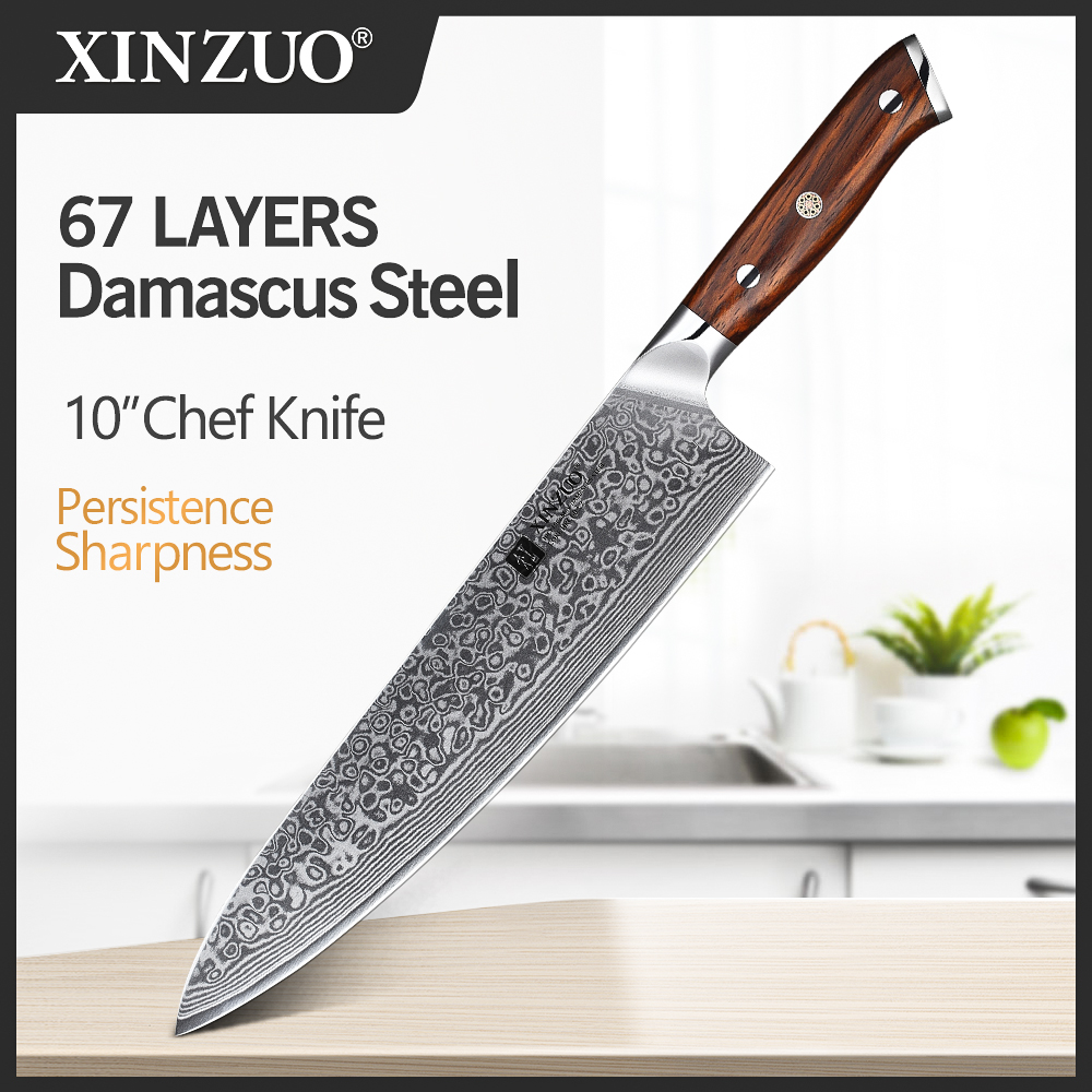 XINZUO 10 inch Chef <font><b>Knife</b></font> Japanese Damascus Stainless Steel <font><b>Kitchen</b></font> <font><b>Knife</b></font> <font><b>Professional</b></font> Gyutou <font><b>Knife</b></font> with Luxury Rose Wood Handle image