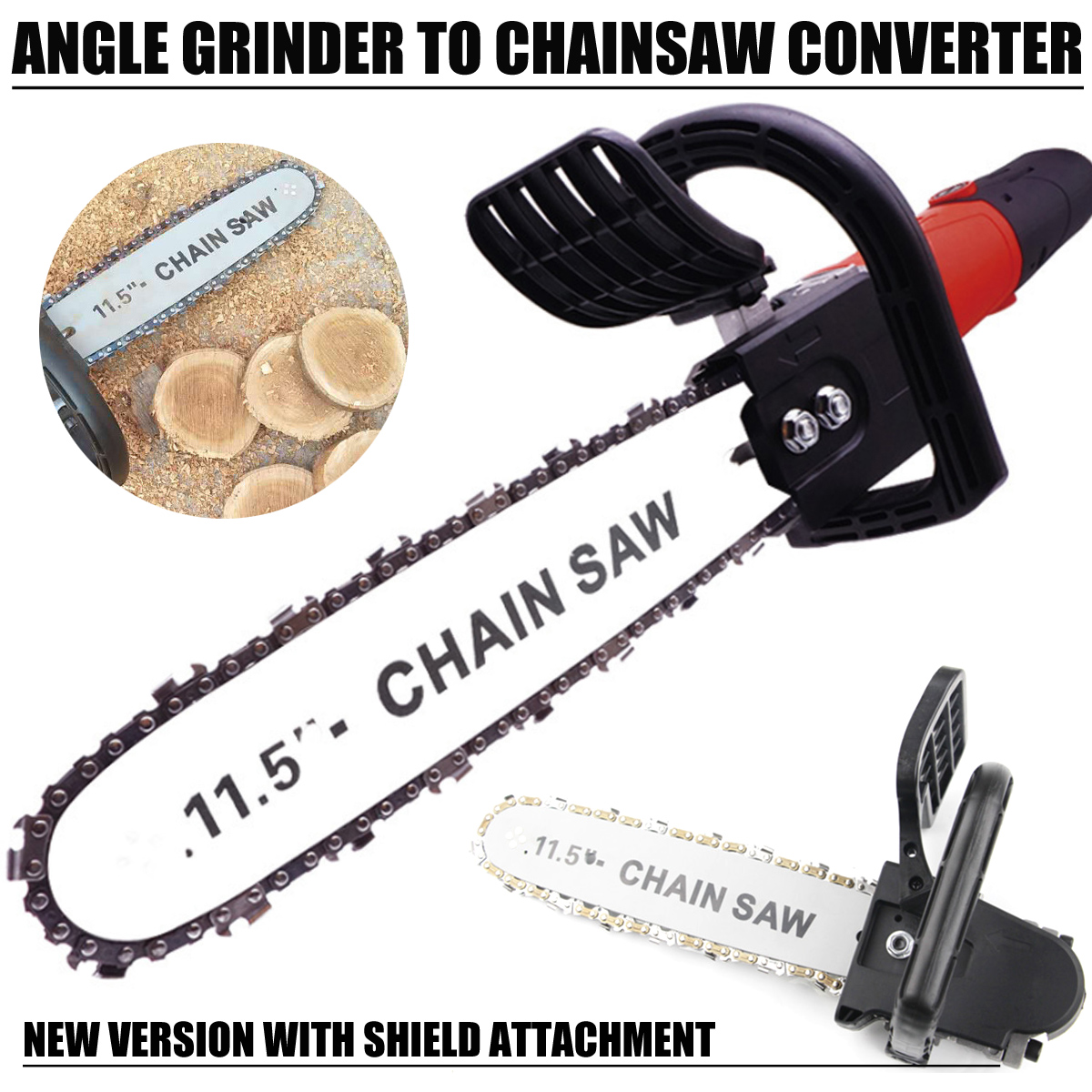 11.5 Inch M10 M14 Chain Saw Bracket Set Chainsaw Guide Bar Transfer Conversion Head For Angle Grinder DIY