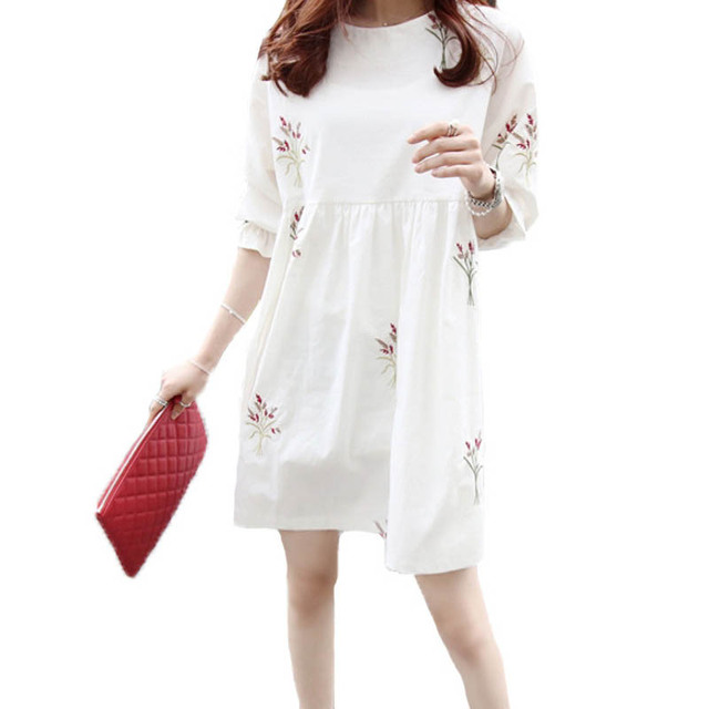 Cotton and Linen Short Sleeved Maternity Dress 6