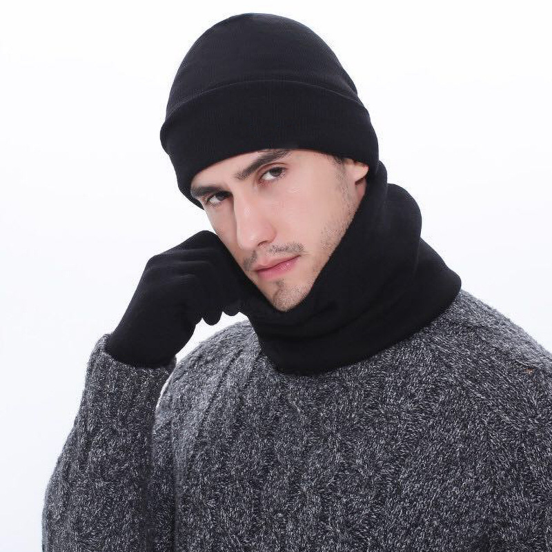3pcs/Set Mens Knitted Hat Gloves Scarf Set Xmas Winter Warming Hat Full Cover Glove -MX8