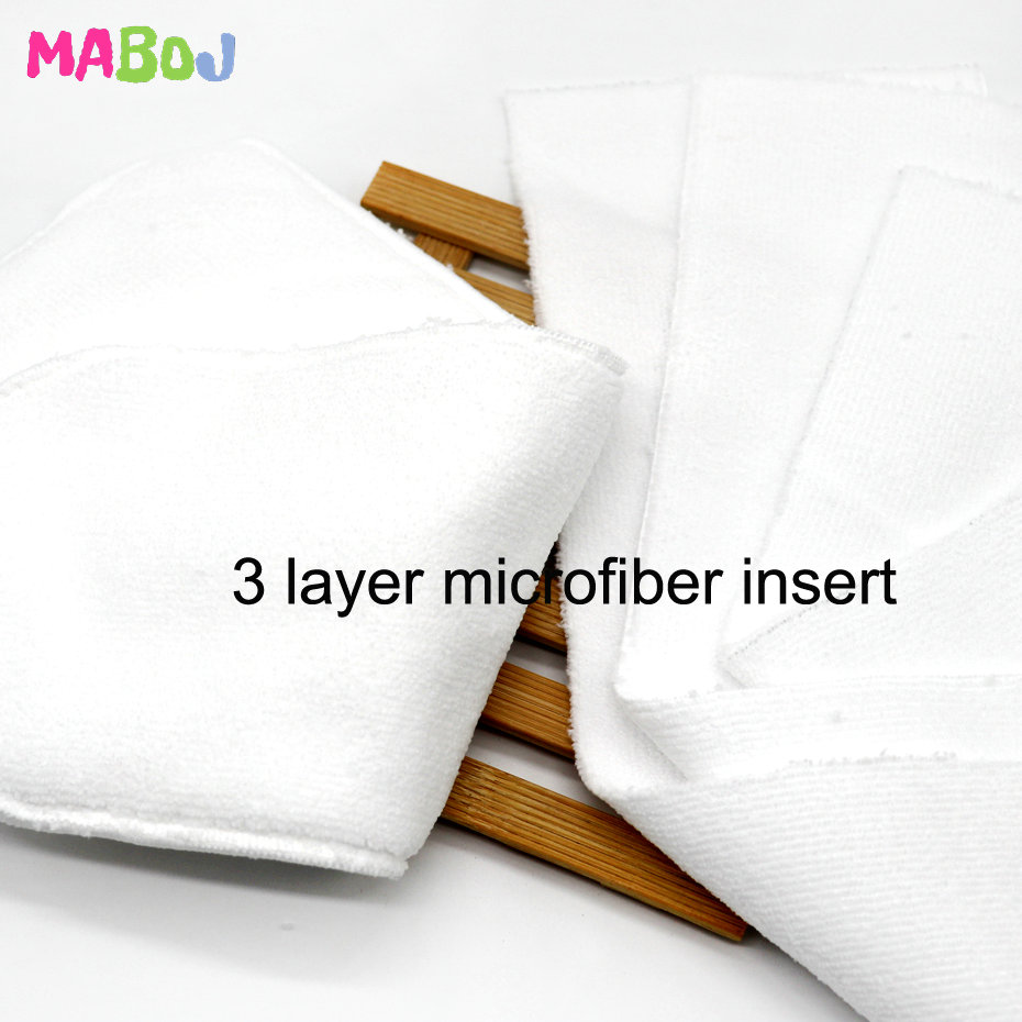 MABOJ 10pcs Baby Ecological Diapers Washable Insert Pocket Cloth Diaper Baby Nappy Cover Microfiber Bamboo Charcoal Cotton Liner