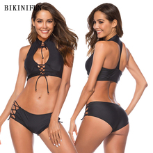 New Sexy High Neck Bikini Women Solid Black Swimsuit Strappy Bandage Swimwear S-XL Girl Halter Padded Bathing Suit Bikini Set