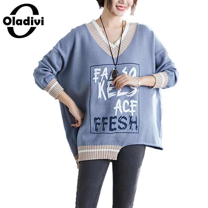 Oladivi Plus Size Women Clothing Fashion Letter Print Irregular Knitted Sweater Autumn Winter Knit Top Pullover Female Knitwears