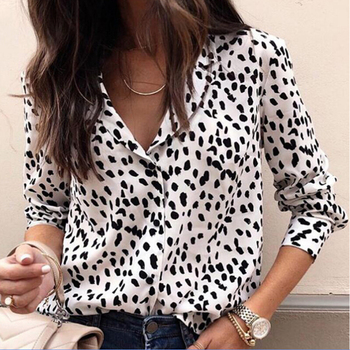 Fashion Hot Sale Streetwear Club Party Top Sexy Leopard Print Blouse Long Sleeve Shirt Women V Neck Femme Buttons Casual Tee Top