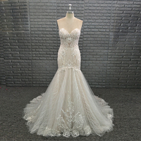 Sexy Sweetheart Beaded Appliques Lace Mermaid Bridal Gown Wedding Dress