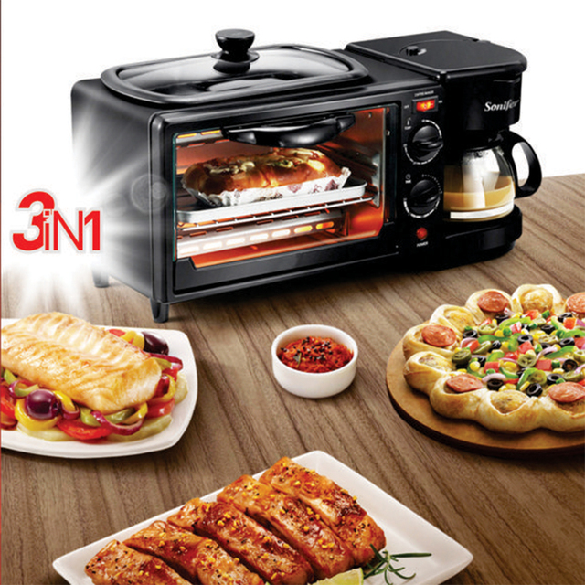 Electric 3 in 1 Breakfast Making Machine Multifunction Drip Coffee Maker Household Bread Pizza Frying pan Toaster 220V Sonifer 2