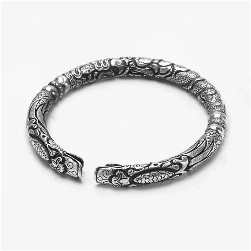 Sole Memory Retro Thai Silver Exquisite Personality Literary 925 Sterling Silver Male Resizable Bangles SBR150
