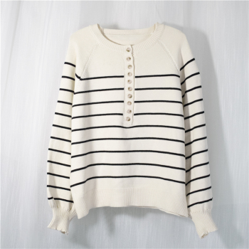 Ailegogo New 2020 Autumn Winter Women Sweater V-Neck Buttons Knitted Pullovers Striped Casual Fashionable Wild Tops SW6154 2