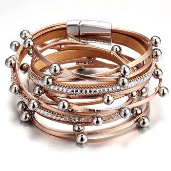 Women's Gold Leather Bracelet Bracelets Jewelry New Arrivals Women Jewelry Metal Color: BJCS716