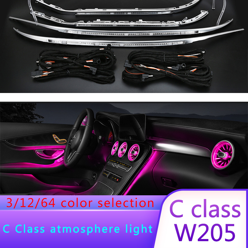 3/12/64 Color Ambient Light For W205 Mercedes Benz C GLC Class C260 GLC C180 Atmosphere Advanced Light Decoration Lamp