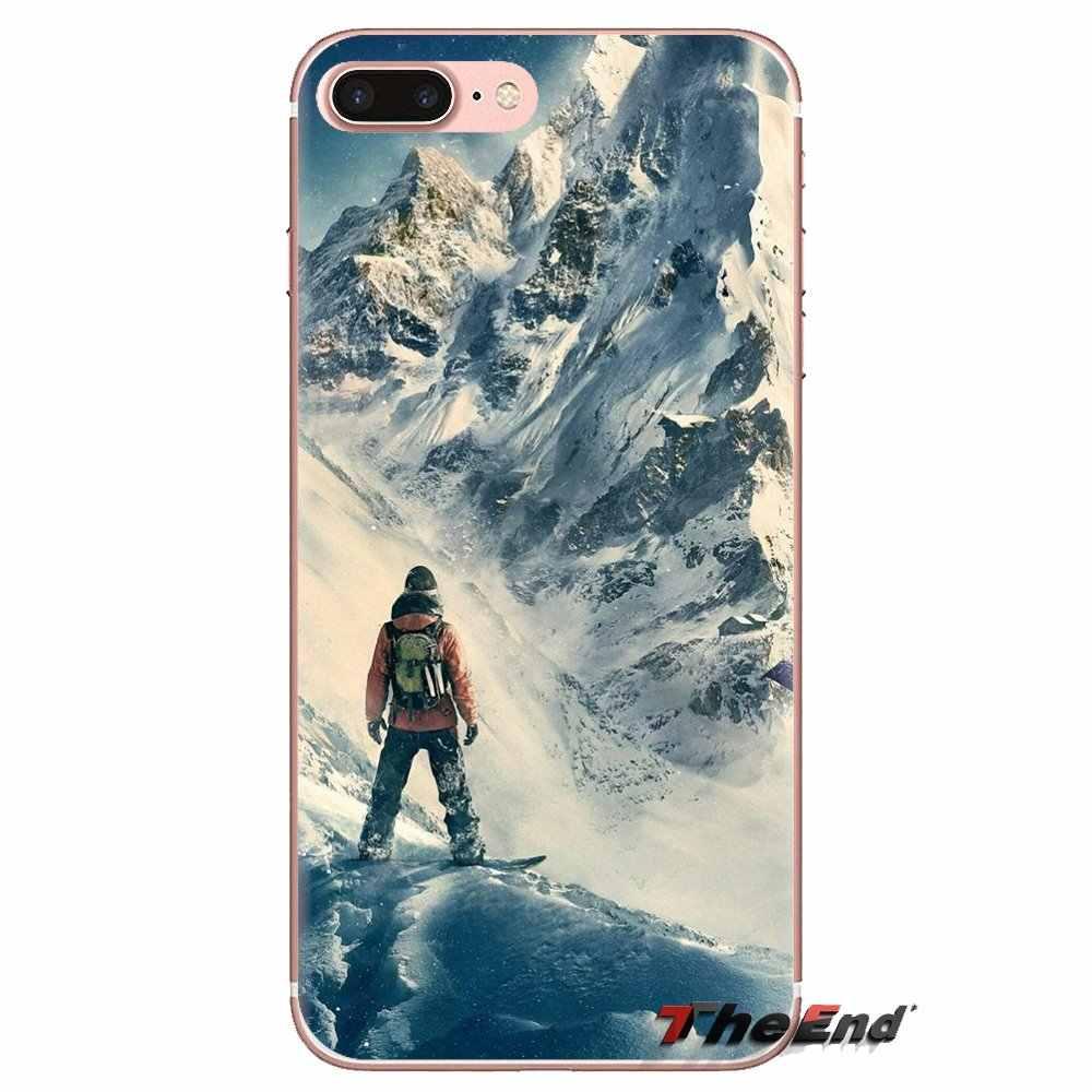 IPod Touch için Apple iPhone 4 4S 5 5S SE 5C 6 6S 7 8 X XR XS artı MAX TPU şeffaf kabuk durumda kar veya kalıp kayak Snowboard spor