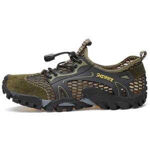 Image 2 - קיץ לנשימה גברים נעלי הליכה זמש + רשת חיצוני גברים ספורט טיפוס נעלי גברים נעלי ספורט מהיר יבש מים נעליים