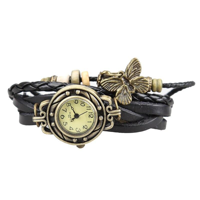 New  Women Retro Bracelet Wrist Watch Weave Wrap Faux Leather Butterfly Beads Pendant Chain  MV66