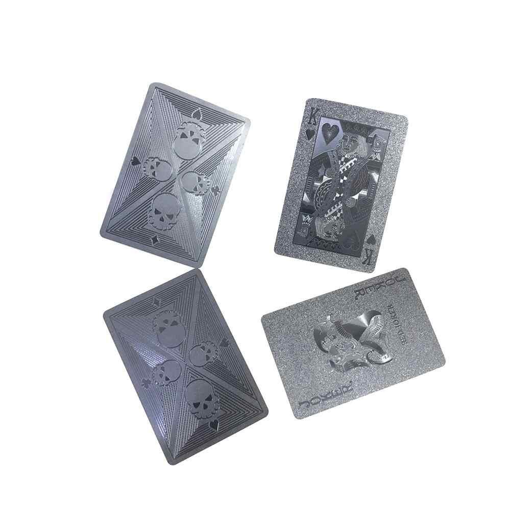 54 pièces/pack cartes à jouer en plastique imperméable noir crâne cartes de Poker Collection magique jeux de fête cartes de Poker de société