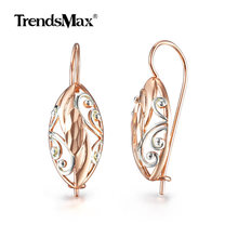 Hot Sale 585 Rose Gold White Color Oval Earrings for Women Girls Dangle Fashion Jewelry Wedding GE275