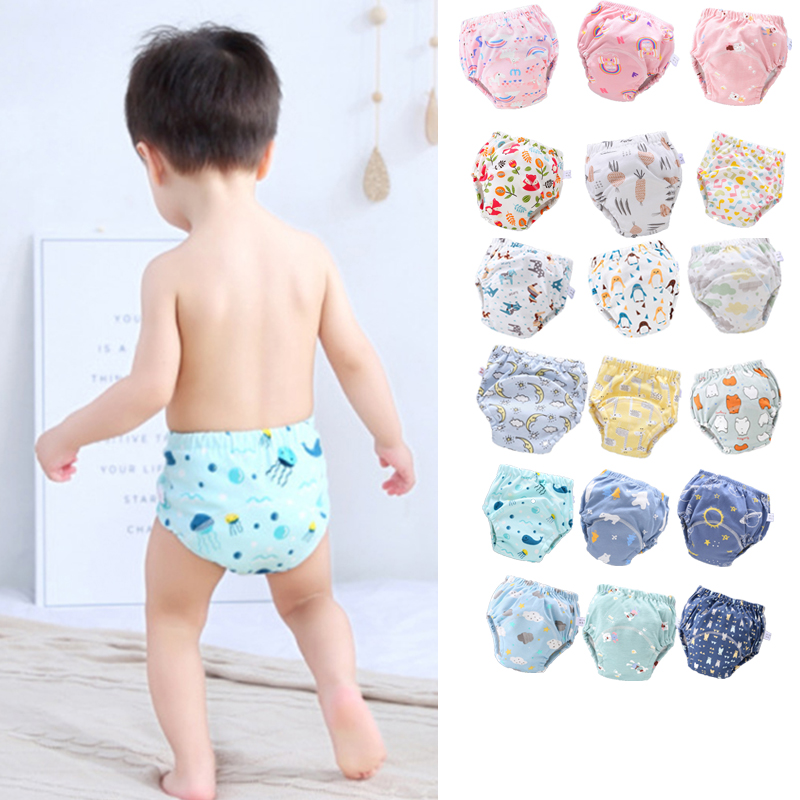 Waterproof Baby Cloth Diapers Reusable Washable Nappies Baby Diaper Pure Cotton 6 Layers Of Gauze Learning Training Pants