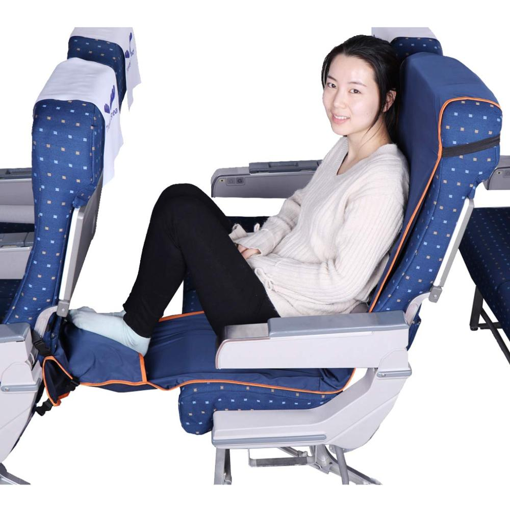 Adjustable Footrest Hammock With Inflatable Pillow Seat Cover For Planes Trains Buses