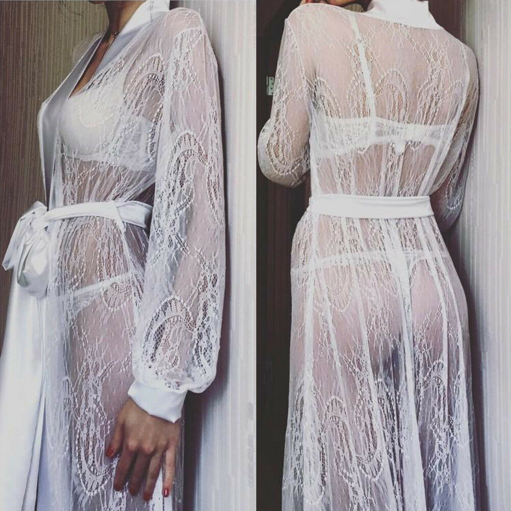 Sexy Women's Sheer Shirt Mesh Lingerie See Through Robe Long Wedding Bath Bride Bridesmaid Robe Lace Floral Sleepwear Nightdress