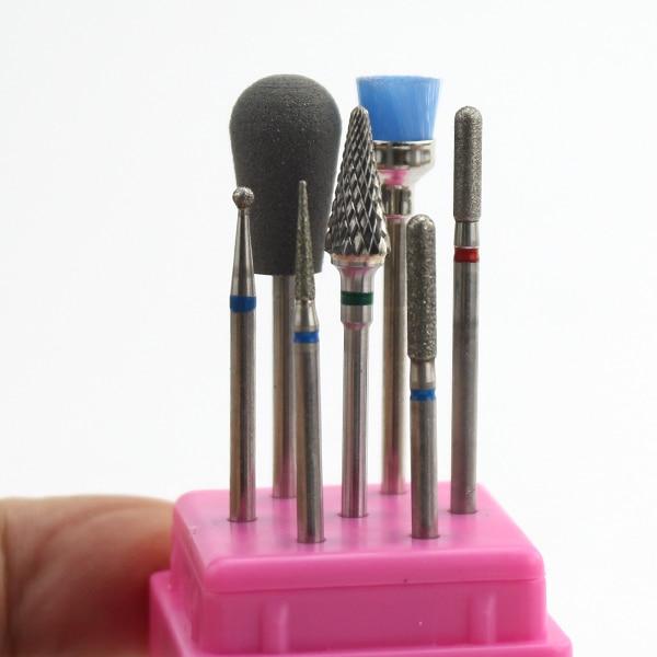 7 шт. набор сверл для ногтей керамические алмазные радужные фрезы электрические маникюрные пилки средство для удаления кутикул заусенцы инструменты для ногтей - Цвет: 2