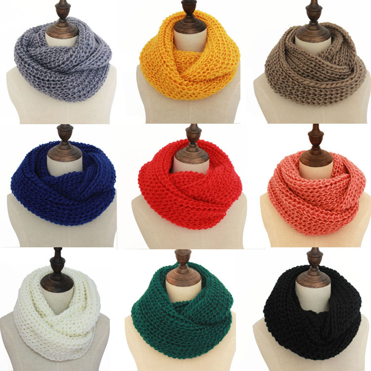 Apparel-Accessories Wraps Scarves Neck-Muffler Knitted Autumn Woollen Winter Pure-Color