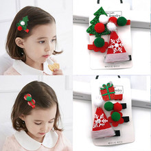 2/4PCS/set Cute Christmas Set Hair Clip Candy Santa Claus Hairpin Baby Girl Headdress Duckbill Clip Butterfly Hair Clip Hairgrip(China)