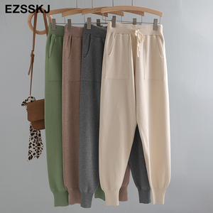 Women Elastic Waist Drawstring Trousers Thick Knitted Harem Pants Autumn Winter Sport swear Women'S Pants New Bottoms