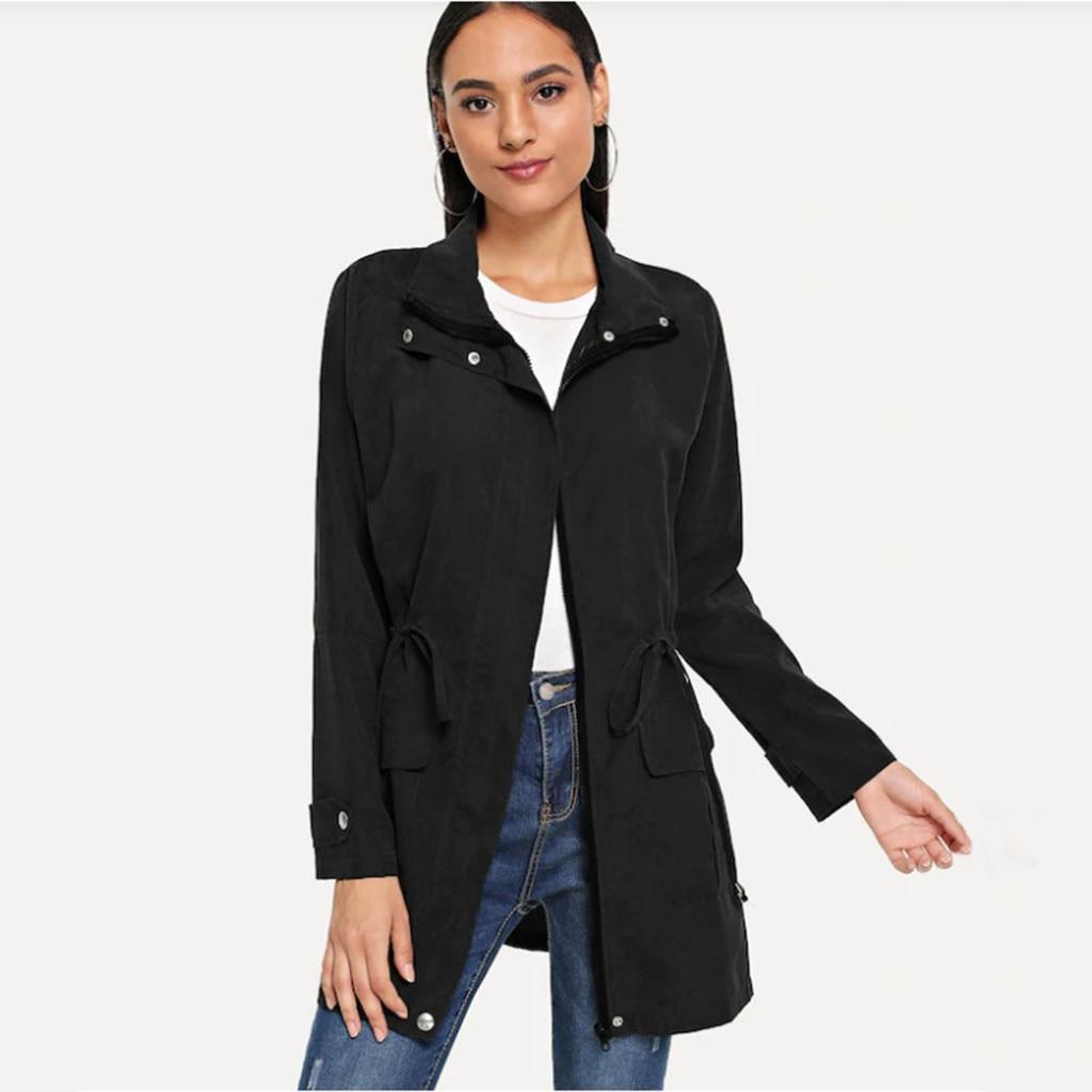 Womens Trench Coat Autumn Long Sleeve Jacket Windbreaker Parka Pockets Cardigan