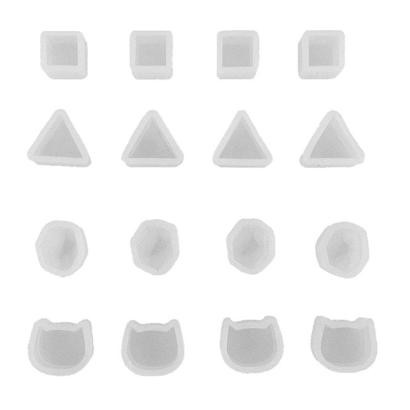 16Pcs Tiny Silicone Jewelry Earring Necklace Pendant Mold Casting Jewelry Tools