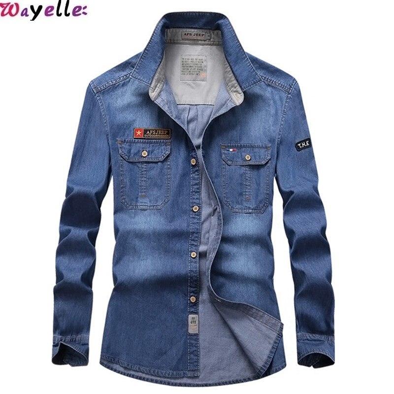Wayelle nouveau Jeans Jackert couleur unie plissé épaule poche décoration hommes rue Top à manches longues denim lettre vêtements