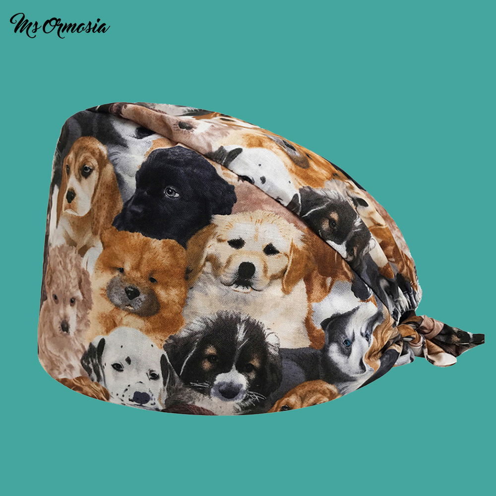 New Arrival Dog Print In Black Tieback Elastic Section 100% Cotton Surgical Caps Scrub Caps For Men Women Hospital Medical Hats