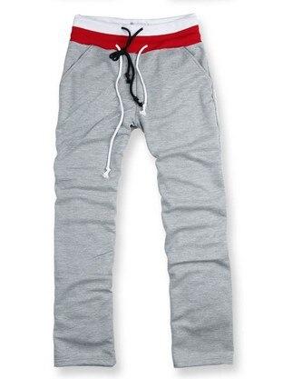 Korean Men's Double Waist Casual Pants Men's Medium Waist Large Size Solid Color Athletic Pants Men's Trousers Loose-Fit Trouser