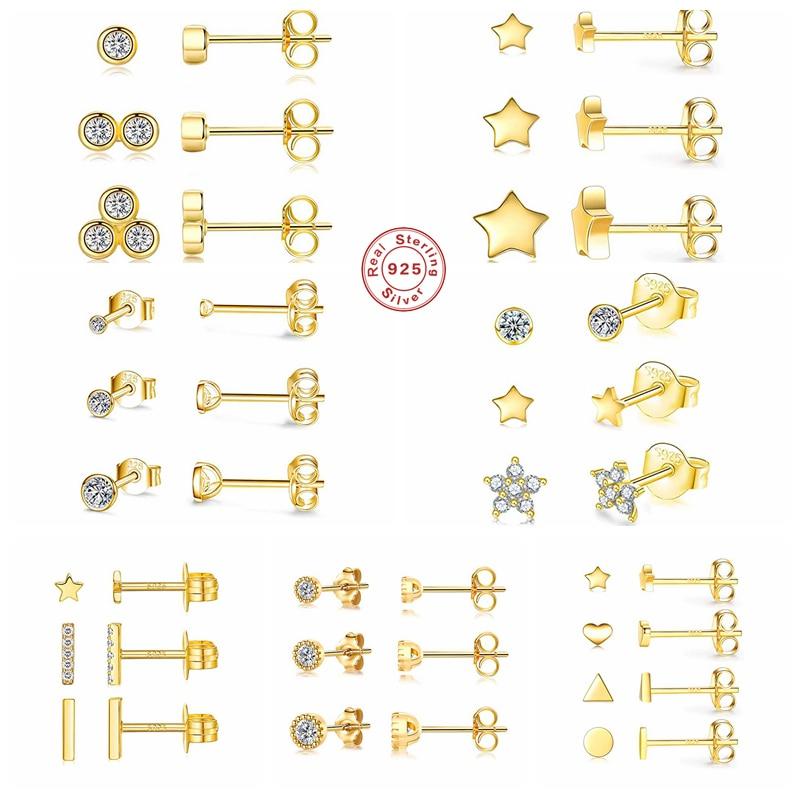 Aide 925 стерлингового серебра с рисунком звезд и бриллиантов, серьги со шпилькой, для женщин, мини кубический цирконий драгоценный геометриче...