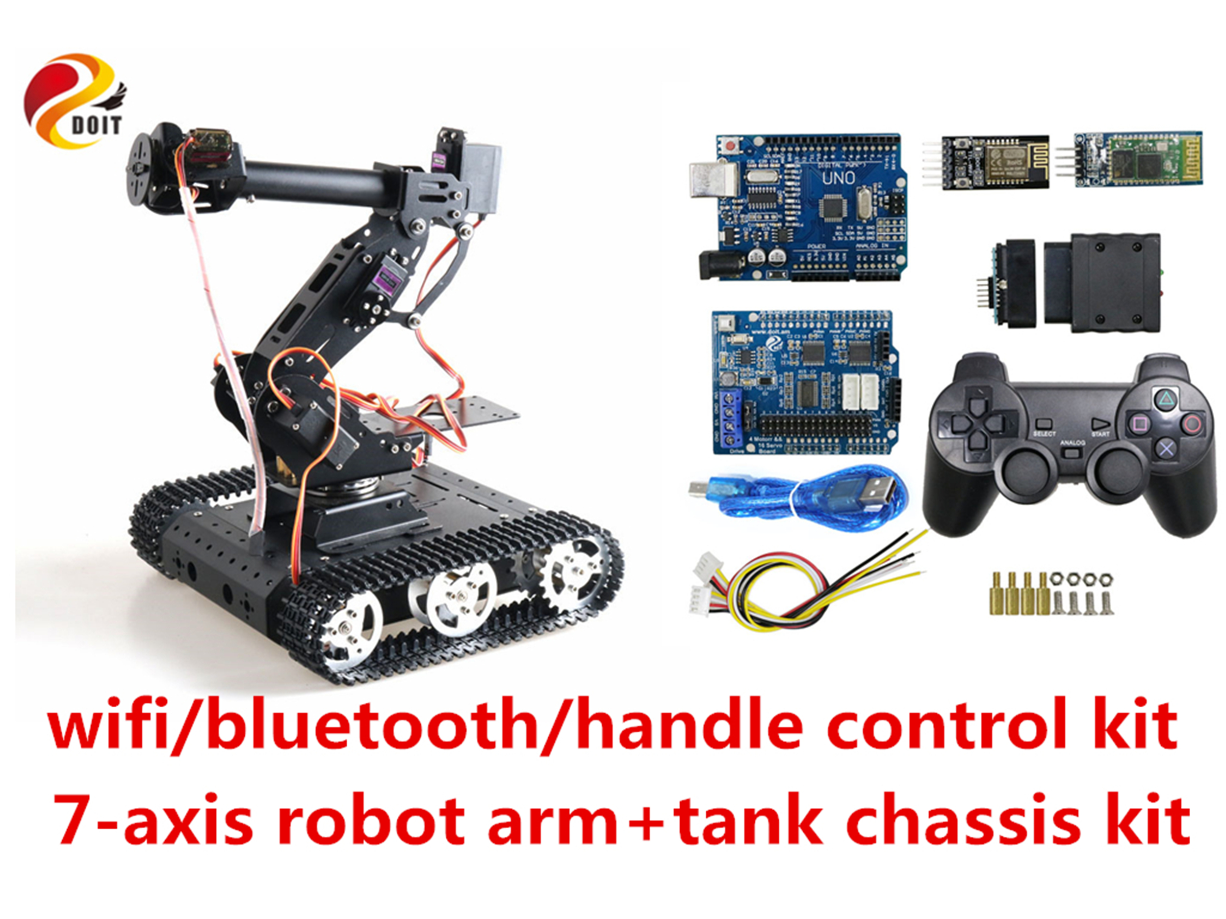 SZDOIT Wifi/Bluetooth/Handle Control 7DOF Vehicle Robot Full Metal 7-axis Robot Arm + TC100 Tank Chassis Kit Servos for Arduino