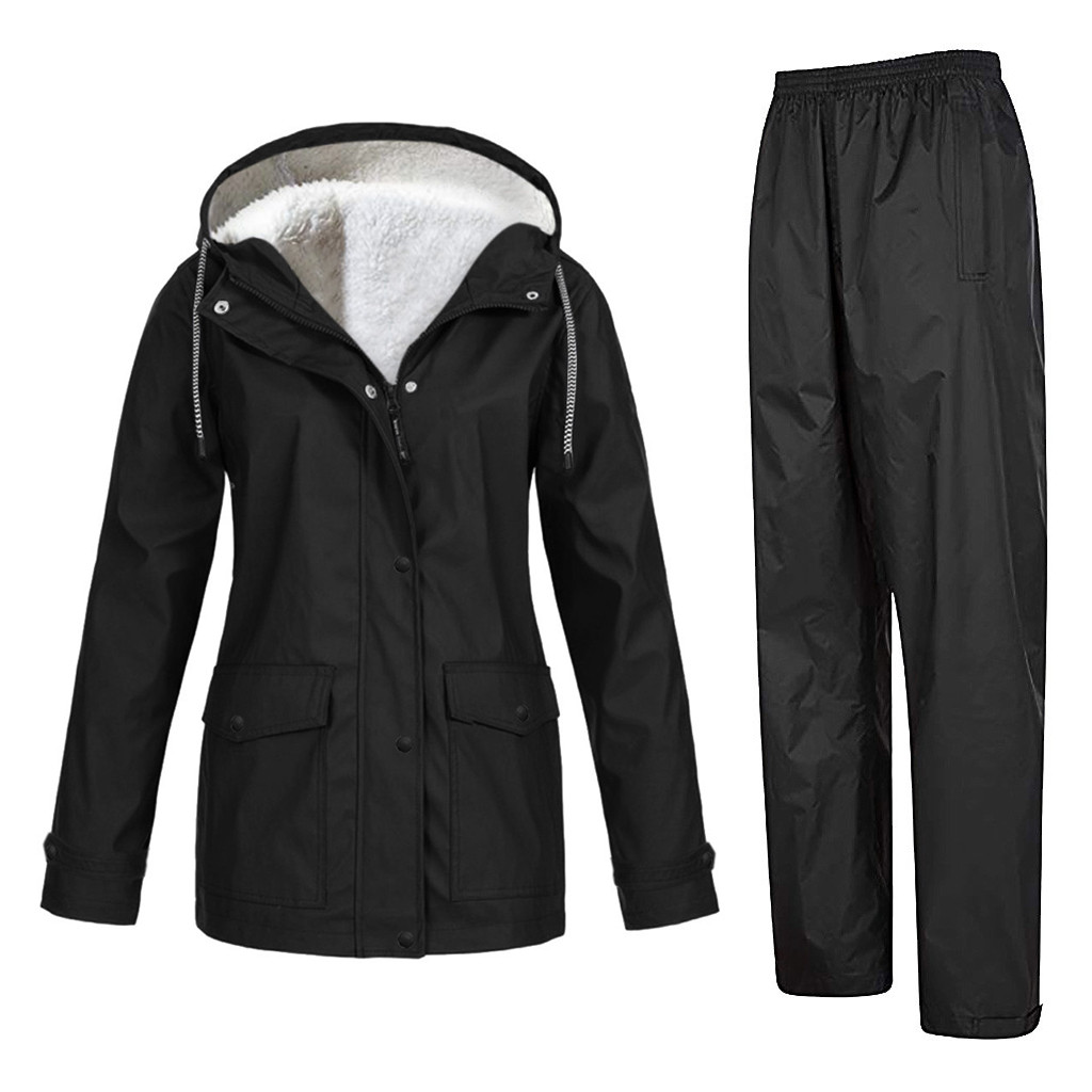 Women Tracksuits Sportwear Windbreaker And Pant Women Solid Plush Thickening Outdoor Plus Size Hooded Windproof Trousers Suit#g4