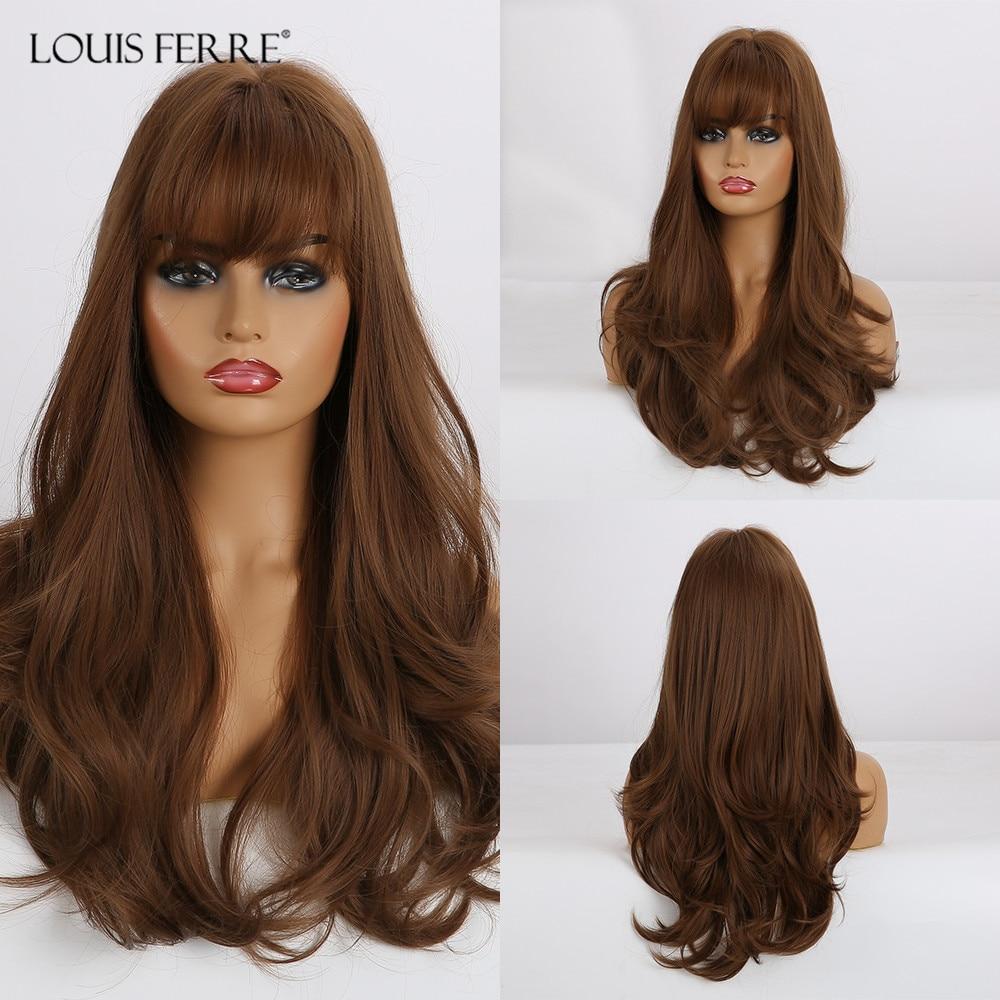 LOUIS FERR uzun kahverengi bal dalgalı peruk patlama ile isıya dayanıklı sentetik peruk siyah kadınlar için afrika amerikan Cosplay peruk