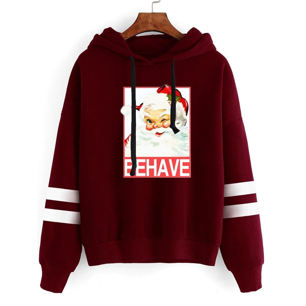 Christmas Santa Sweatshirt Womens Clothing Harajuku Hoodies Japanese Clothes Plus Woman Print Merry Christmas