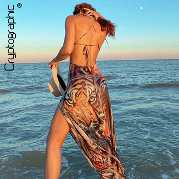 Cryptographic Halter Sexy Backless Split Dresses Bodycon Sleeveless Tiger Print Fashion Dress Chic Fall 2020 Women Clothing chic halter fishtail floral print sheath dress for women