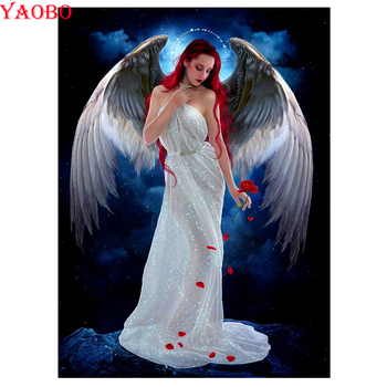 Pintura de diamantes alas de Ángel 5d mosaico completo bordado mujer patrón de diamantes de imitación 5d arte diy trabajo a mano puzle imagen para artesanía