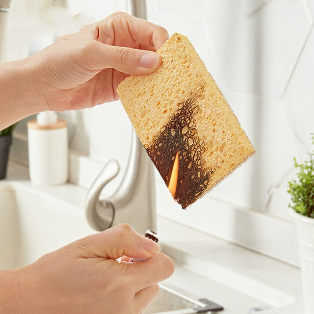 Japan 2pc Dishwashing Sponge Natural Anti Oil Kitchen Wood Pulp Magic Sponge Scrubber Dish Bowl Cleaning Brush 3