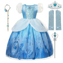 Cinderella Girl Dress 2020 new Christmas Girl Princess navidad Kids clothes Children vestidos Halloween Party Cosplay Costume cheap Cotton CN(Origin) Mid-Calf O-neck Girls Regular SHORT Novelty Fits true to size take your normal size Sequined Solid A-LINE