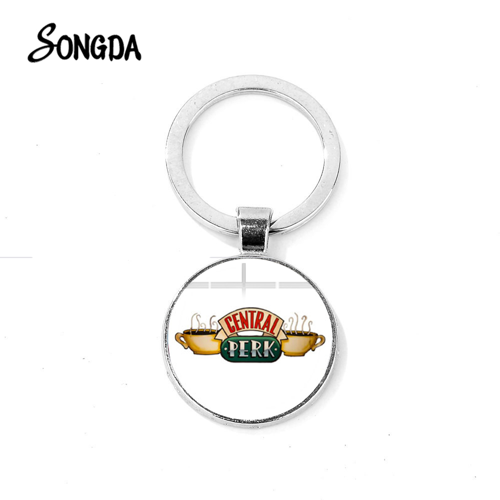 SONGDA American TV Show Friends Keychain Central Perk Coffee Time Glass Pendant Fashion Key Chain Llaveros for Best Friend Gift image