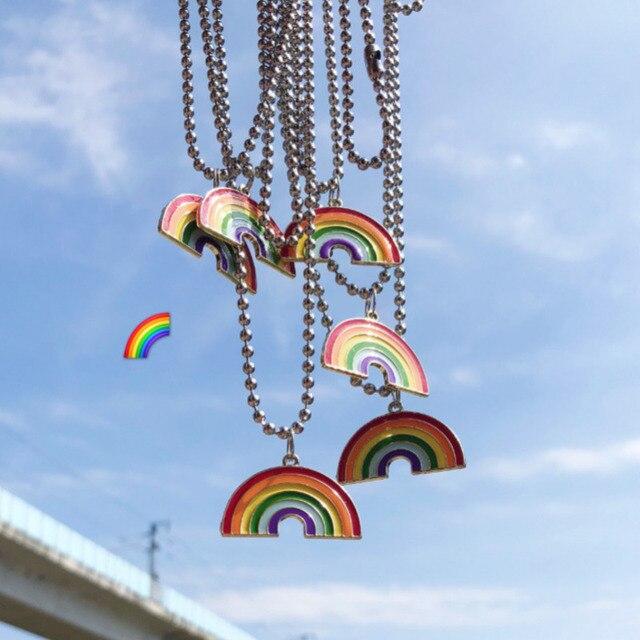 Kpop mignon coloré arc-en-ciel pendentif en acier inoxydable collier longue chaîne chérie pour les femmes homme fille Egirl esthétique bijoux