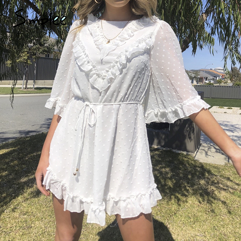 Simplee White Dot Women Summer Dress Elegant Backless Ruffle Female Short Dress Holiday Vestidos Ladies Casual Beach Dress 2020