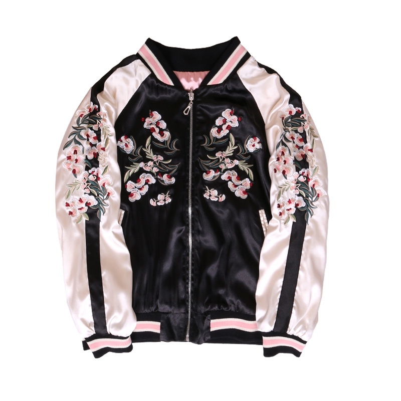 Spring Autumn New Jackets Smooth Women cherry blossom Cerasus flowers Embroidered Two Sided Wear Yokosuka Baseball Jacket Coats image