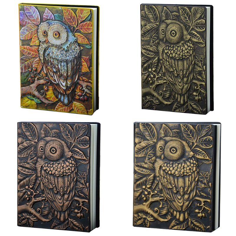 3d escultura coruja em relevo caderno diario bloco de notas viagem diario planejador sketchbook escola material
