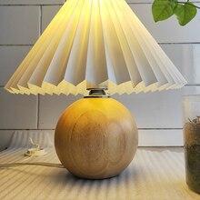 Корейская плиссированная настольная лампа Ins для поделок, Керамические настольные лампы для гостиной домашний декор Милая лампа с трехцвет...