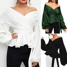 GUMNHU White Office Lady Elegant flare Sleeve Peplum Top Off The Shoulder Solid Blouse Autumn Sexy Women Tops and Blouses