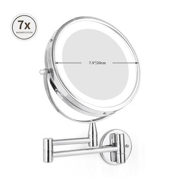 1X 7X Magnification LED Makeup Mirror 7.9in Adjustable Wall Mounted Makeup Mirror Dual Arm Extend Cosmetic Double Face Mirror
