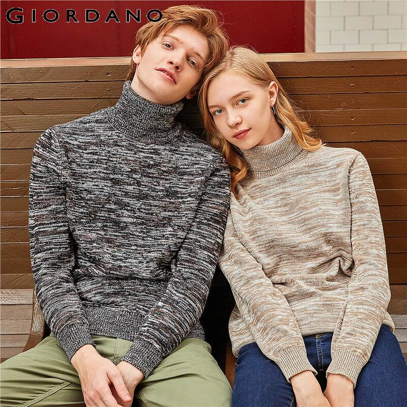Giordano Men Sweaters Thick Turtleneck Sweater Cotton Windproof Ribbed Cuffs And Hem Warm Chompa Hombre 01059869