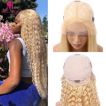Malaika 613 Blonde 13x1 Lace Frontal Human Hair Wigs Brazilian Deep Wave Wigs Middle Part Lace Front Wig Hair Wig Remy 150% Dens image